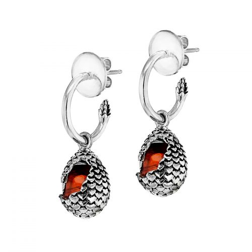MEY for GOT dragonstone earrings small egg fire orange